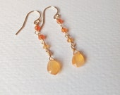 Long Mexican Fire Opal Earrings Wire Wrapped with 14k Gold Fill