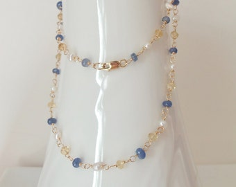 Sapphire, Citrine and Freshwater Pearl Wire Wrapped with 14kt Gold Fill Necklace SALE