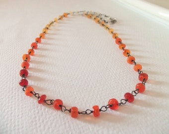 Mexican Fire Opal Gemstone Wire Wrapped Handmade Necklace with Oxidized Sterling Silver
