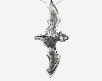 925 Sterling Silver Bat Necklace Pendant Wings Chiroptera