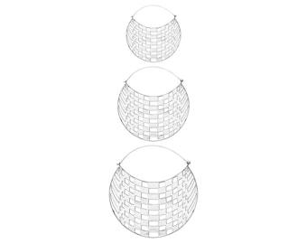 Silver Boho Earrings - Big Geometric Hoops - 3 Sizes