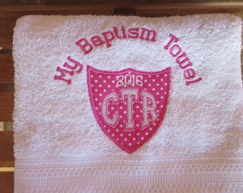 My Baptism Towel - CTR White Towel With Pink Applique