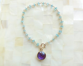 Faceted Blue Quartz Rondelle Vermeil Wire Wrapped Chain Bracelet with Round Vermeil Bezel Amethyst Charm Drop (B1204)