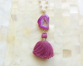Gold Edge Pink Agate Druzy Geode Slice Connector & Magenta Tassel on White Chalcedony Rondelle Vermeil Wire Wrapped Chain Necklace (N1737)