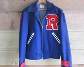 1950s 1960s Varsity Letterman Band Blue Jacket Large