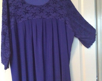 Lace top plus size 3X three-quarter sleeves full sweep Maggie Barnes no flaws navy color