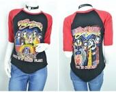 70s 80s Aerosmith tour band raglan t shirt ringer tee
