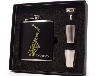 Personalized Flask // Saxophone Whiskey Flask