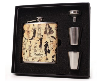 Fashionista Flappers Whiskey Flask 1920s Flask for Women