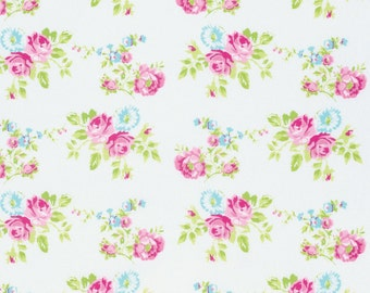 Zoey Rose in White pwtw119 - ZOEYS GARDEN by Tanya Whelan for Free Spirit Fabrics - By the Yard