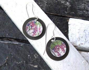 Flowering Vines Tin Earrings, Tin Disc Earrings, Deep Pink Flowers, Lightweight Earrings