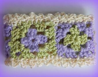 Granny Square Cuff Bracelet, Boho Fabric Bracelet, Crocheted Cuff, Purple and Green Cuff, Lavender and Mint Cuff, Fiber Bracelet, Cotton