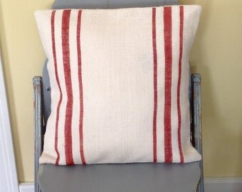 Burlap Feedsack Pillow Cover/Rustic Red Striped Grain Sack Pillow by sweet janes plan