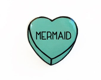 Mermaid - Anti Conversation Heart Pin Brooch Badge