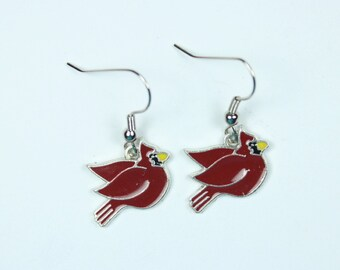 "Earrings - Red Cardinal Charms - Simplicity Charming Style ""A Special Meaning"""