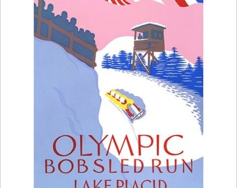 Olympics Art - 1932 Lake Placid Winter Olympics Bobsled Run - WPA Poster Print - Winter sports poster print