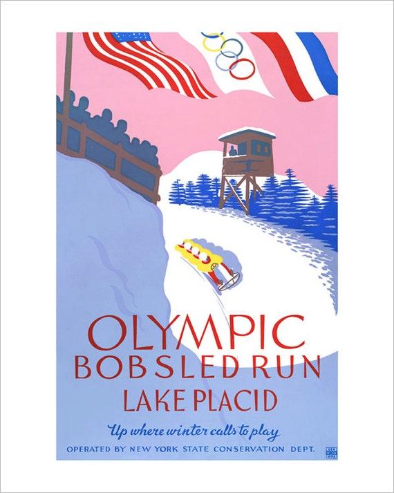 Olympics Art - 1932 Lake Placid Winter Olympics Bobsled Run - WPA Poster Print - Winter sports poster print