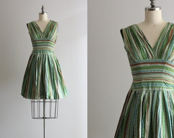 Green Atomic Dress . Full Skirt 1950s Dress . Sleeveless 50s Summer Dress