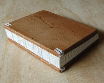 cherry wood guest book or journal  rustic wedding cabin guestbook handmade wood book memorial unique wedding anniversary gift- made to order