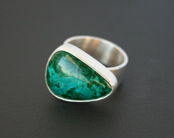 Chrysocolla Sterling Silver Bold Statement Ring Large Modern Design Sleek Setting