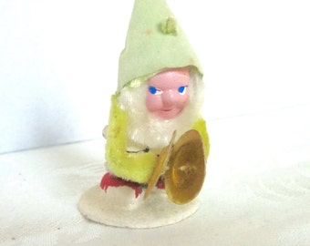 Elf, Gnome, Vintage Christmas, Holiday Decoration, Pine Cone elf, Green Ornament, 1940s 1950s