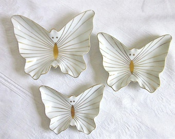 Butterfly Trinket Dishes Vintage Stacking Dishes White Porcelain Gold Details 1960s 1970s