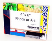 Picture Frame for 4x6 photo. Made from Recycled Skateboards by Deckstool. Skateboarder gift Cool street pop inspired wall art
