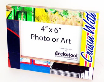 Picture Frame for 4x6 photo or artwork. Made from Recycled Skateboards by Deckstool. Street and pop art inspired, clean, modern design.