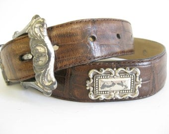 Vintage Fossil Leather Antiqued Concho Belt // Southwest // Coywboy Belt // Brown Leather Belt // Rustic // Country Western