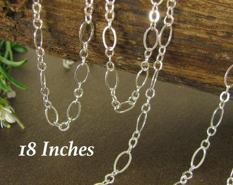 Sterling Silver Cable Chain - Flattened Links Medium And Short  - 16 Inches  4.9mm x 2.7mm CH52 - 16in