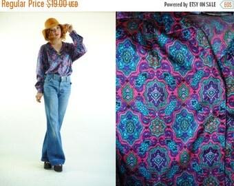 ON SALE 50% 80's Vintage BOHO Chic Silky Diane Von Furstenberg Boho Blouse (M)