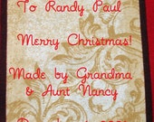 Christmas Quilt Label - Gold Tag, Custom Made & Hand Embroidered LAST ONE