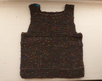 Hand-Knit Wool Baby Vest / Tank Top, size 6 months