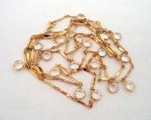 Vintage Long Gold Tone Clear Crystal Open Back Bezel Necklace