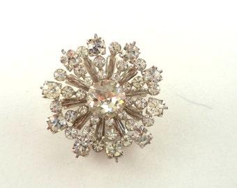 Vintage Crystal Rhinestone Brooch Foil Back Clear Rhinestones Silver Tone Setting