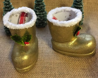 Pair of Vintage Gold Santa boot ornament candy holders