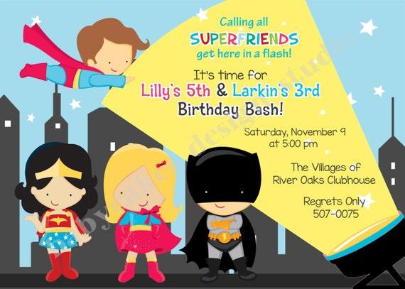 Boy Girl Superhero Birthday Invitation Superfriends invitation super hero invitation sibling superhero party invitation invite