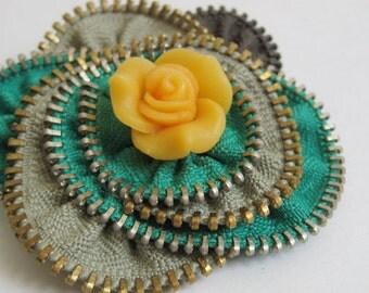 Yellow Green Flower Zipper Brooch Pin