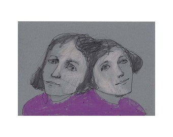 Mother Daughter art original drawing portrait woman people gift