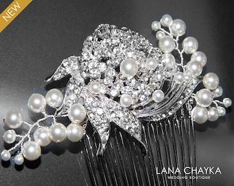 Crystal Pearl Wedding Hair Comb Bridal Hair Comb Swarovski White Pearl Rhinestone Hair Jewelry Wedding Headpiece Bridal Pearl Crystal Comb