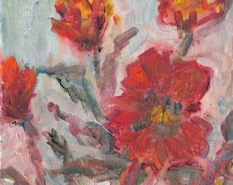 Original abstract floral painting Bright Orange Poppies 8x8