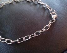 Charm Bracelet Antiqued Silver Link Bracelet Chain 1 piece