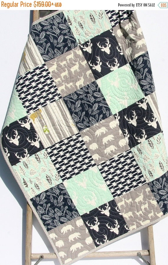 Baby Quilt Boy Mint Green Navy Blue Grey Gray By