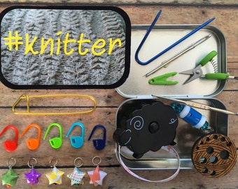 Knitter's Tool Tin: #Knitter - altered atloid box for your craft and sewing bag!