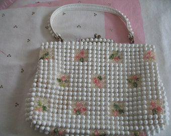 1960's Purse Handbag, Beaded, Pink and White