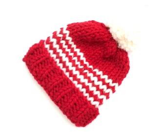 Santas Striped hand knit beanie hat , winter thick knit  , Father Christmas hat , Festive gift , Red Christmas beanie ,  Xmas knitted hat