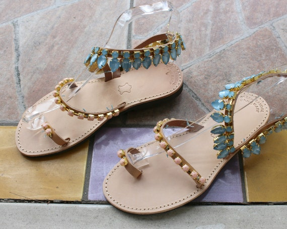 Greek Sandals, elegant shoes sandals aqua sandals rhinestone sandals sandales femme
