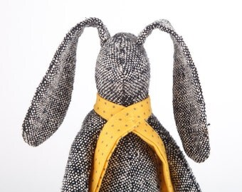 Easter bunny doll SMALL doll - black woven pure silk stuffed bunny , plush rabbit doll in yellow dotted scarf & red socks - handmade doll