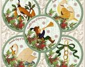 12 Days of Christmas Tag Set - Digital Collage - Set of 12 - Printable Sheet ChrTag57