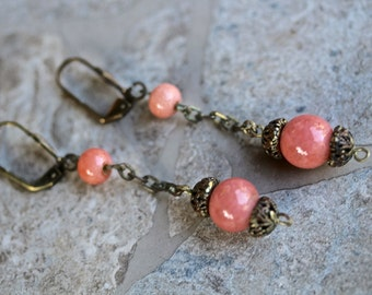 Reclaimed Vintage Earrings, Drop Earrings, Dangle Earrings, Pierced Earrings, Coral, Antique Brass, 1920s, Jennifer Jones,Boho OOAK  - Clara